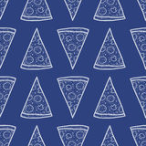 Modèle sans couture de vecteur avec des tranches de pizza Photographie stock