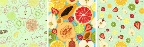 Modèle sans couture de vecteur avec des tranches de fruit illustration libre de droits