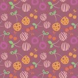 Modèle sans couture de vecteur avec différentes cerises ornementales décoratives colorées sur le fond violet Répétition de l'orne illustration de vecteur
