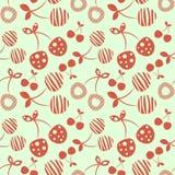 Modèle sans couture de vecteur avec différentes cerises ornementales décoratives rouges illustration libre de droits