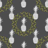 Modèle sans couture de vecteur avec l'ananas Fond dans des couleurs jaunes et grises illustration stock