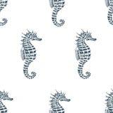 Modèle sans couture de vecteur avec l'hippocampe Photographie stock libre de droits