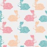 Modèle sans couture de vecteur avec l'illustration ornementale tirée par la main de lapin fond décoratif de lièvres de griffonnag illustration libre de droits