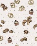 Modèle sans couture de vecteur avec la boulangerie tirée par la main sur la polka Dot Background Vintage et style simple Image stock