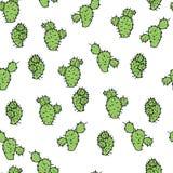 Modèle sans couture de vecteur avec la figue de Barbarie de cactus Photographie stock libre de droits