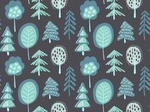 Modèle sans couture de vecteur avec la forêt de sapin d'hiver illustration stock