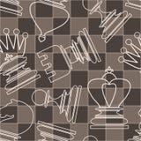 Modèle sans couture de vecteur avec la pièce d'échecs Photographie stock
