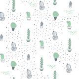 Modèle sans couture de vecteur avec le cactus dans des pots et des éléments de points d'isolement sur le fond blanc illustration stock