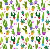 Modèle sans couture de vecteur avec le cactus différent Photos stock