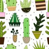 Modèle sans couture de vecteur avec le cactus mignon illustration stock