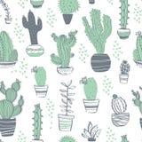 Modèle sans couture de vecteur avec le cactus, succulent, aloès, branches, éléments floraux d'isolement sur le fond blanc St tiré illustration stock