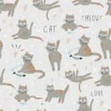 Modèle sans couture de vecteur avec le chat mignon d'émotion illustration libre de droits