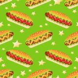 Modèle sans couture de vecteur avec le grand hot-dog Illustration Libre de Droits