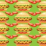 Modèle sans couture de vecteur avec le grand hot-dog Photo stock