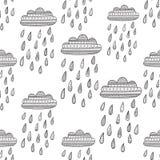 Modèle sans couture de vecteur avec le nuage pluvieux décoré illustration de vecteur