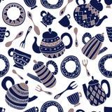 Modèle sans couture de vecteur avec le plat, la fourchette, la cuillère, la théière et la tasse illustration stock