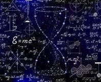 Modèle sans couture de vecteur avec le sablier fait d'étoiles et formules manuscrites de maths sur le fond étoilé de l'espace illustration libre de droits