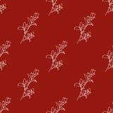 Modèle sans couture de vecteur avec les éléments floraux tirés par la main Fond botanique dans la couleur rouge Texture de tissu illustration libre de droits