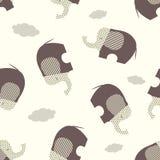 Modèle sans couture de vecteur avec les éléphants bruns stylisés sur un fond beige illustration libre de droits
