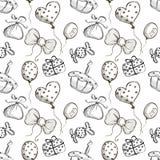 Modèle sans couture de vecteur avec les ballons à air tirés par la main, arcs, cadeaux, gâteau, sucrerie sur le fond blanc Illustration de Vecteur