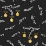 Modèle sans couture de vecteur avec les branches d'arbre de hristmas de  de Ñ et les boules blanches de Noël d'or sur le fond no illustration de vecteur