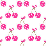 Modèle sans couture de vecteur avec les cerises ornementales décoratives roses illustration stock