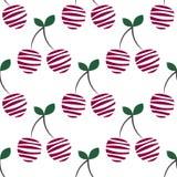 Modèle sans couture de vecteur avec les cerises ornementales décoratives roses sur le fond blanc Répétition de l'ornement illustration libre de droits