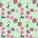 Modèle sans couture de vecteur avec les cerises ornementales décoratives roses sur le fond bleu-clair Répétition de l'ornement illustration de vecteur