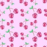 Modèle sans couture de vecteur avec les cerises ornementales décoratives roses sur le fond rose Répétition de l'ornement illustration libre de droits