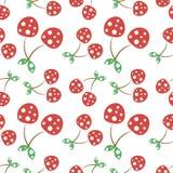 Modèle sans couture de vecteur avec les cerises ornementales décoratives rouges sur le fond blanc illustration de vecteur