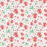Modèle sans couture de vecteur avec les cerises ornementales rouges et les éléments décoratifs sur le fond blanc Répétition de l' illustration stock