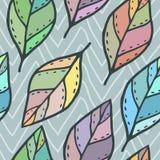 Modèle sans couture de vecteur avec les feuilles colorées Photo libre de droits