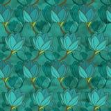 Modèle sans couture de vecteur avec les fleurs bleues Photo libre de droits