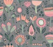 Modèle sans couture de vecteur avec les fleurs de fantaisie Motifs scandinaves illustration libre de droits