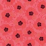 Modèle sans couture de vecteur avec les fleurs roses de ketmie illustration de vecteur