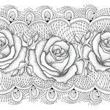 Modèle sans couture de vecteur avec les fleurs roses pointillées et dentelle décorative dans le noir sur le fond blanc Images stock