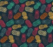 Modèle sans couture de vecteur avec les fruits fleuris d'ananas illustration de vecteur