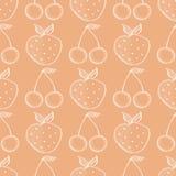 Modèle sans couture de vecteur avec les fruits tirés par la main Fond avec des fraises et des cerises illustration de vecteur