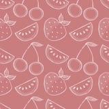 Modèle sans couture de vecteur avec les fruits tirés par la main Fond avec des pastèques, des srawberries et des cerises illustration stock
