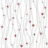 Modèle sans couture de vecteur avec les guirlandes accrochantes de coeur Fond de papier d'emballage Image stock