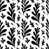 Modèle sans couture de vecteur avec les herbes de dessin d'encre, épillets, illustration botanique artistique monochrome, floral  illustration stock