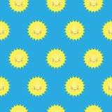Modèle sans couture de vecteur avec les icônes de sourire mignonnes de Sun Kawaii illustration stock