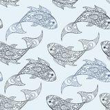 Modèle sans couture de vecteur avec les illustrations tirées par la main de poissons illustration de vecteur