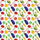 Modèle sans couture de vecteur avec les légumes colorés illustration de vecteur
