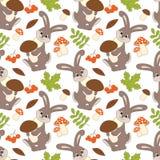 Modèle sans couture de vecteur avec les lapins, les champignons, les baies et les feuilles mignons Forest Rabbit Seamless Pattern illustration de vecteur