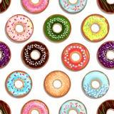 Modèle sans couture de vecteur avec les nourritures savoureuses Desserts avec des butées toriques et des gâteaux de lustre Photo stock