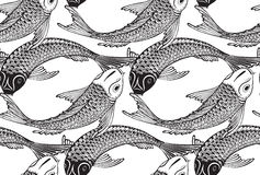 Modèle sans couture de vecteur avec les poissons tirés par la main de Koi illustration stock