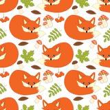 Modèle sans couture de vecteur avec les renards, les champignons, les baies et les feuilles mignons Forest Fox Seamless Pattern Image libre de droits