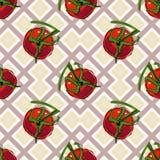 Modèle sans couture de vecteur avec les tomates mûres rouges illustration libre de droits