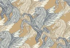 Modèle sans couture de vecteur avec Pegasus tiré par la main illustration stock